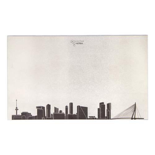 Skyline van Rotterdam op RVS