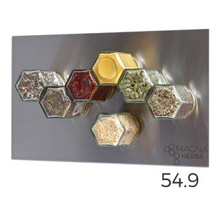 De 07 met RVS: 7 magnetische kruidenpotjes met RVS plaat