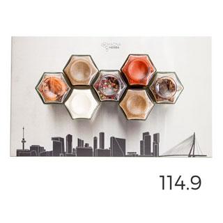 De 07 met Rotterdam: 7 magnetische kruidenpotjes met de skyline van Rotterdam op RVS