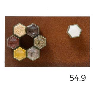 De 07 met corten: 7 magnetische kruidenpotjes met cortenstaal