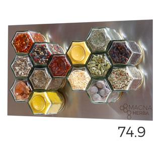 De 14 met RVS: 14 magnetische kruidenpotjes met RVS plaat