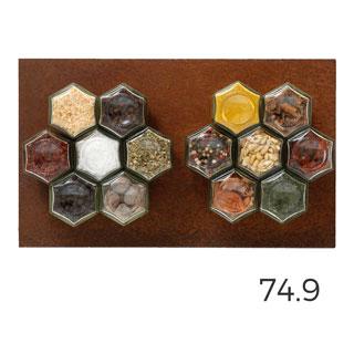 De 14 met corten: 14 magnetische kruidenpotjes met cortenstaal